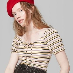 Wild Fable Women's Striped Puff Sleeve Top Tie